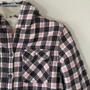 Girls Flannel Hooded Lined Shirt/Jacket - L